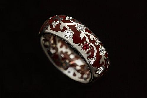 Prsten FLOWER se smaltem, diamanty a rubiny