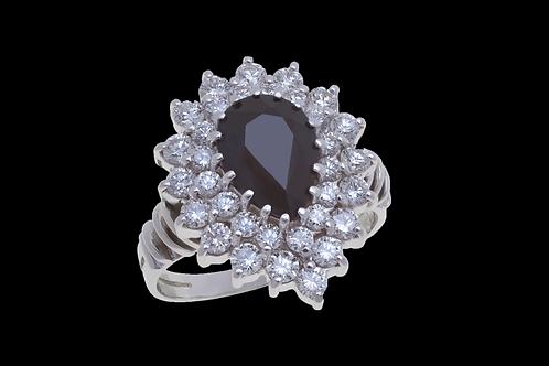 Prsten NOIR se safírem a diamanty