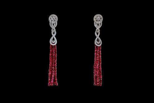 Náušnice TASSEL s diamanty a rubiny