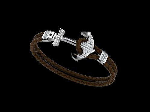 Zlatý náramek KOTVA s bílé diamanty