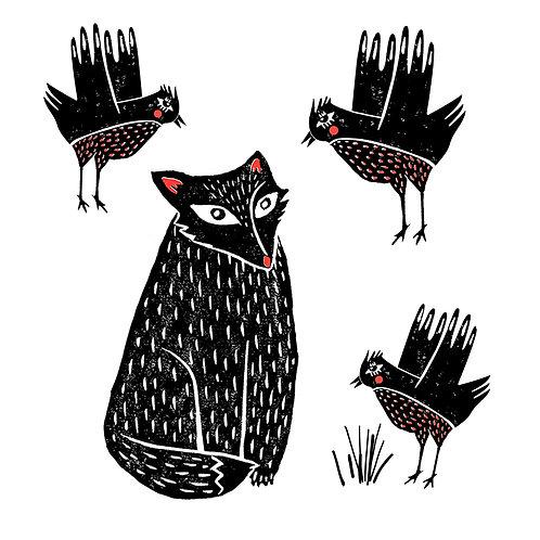Sketchy Fox & Birds