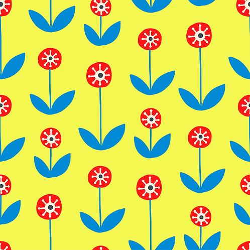Folk Red & Blue Flowers