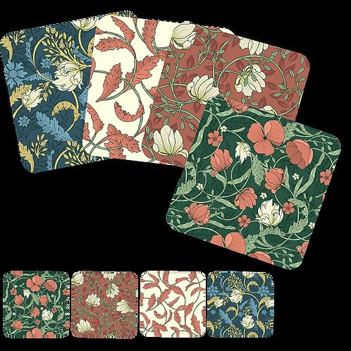 Vintage Floral-Set of 4 Coasters