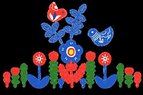 Folk Birds Towel