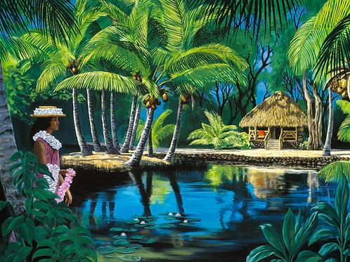 Tahitian Hut & Lei Girl