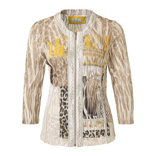 Just White zip front safari print lightweight Jacket 42503
