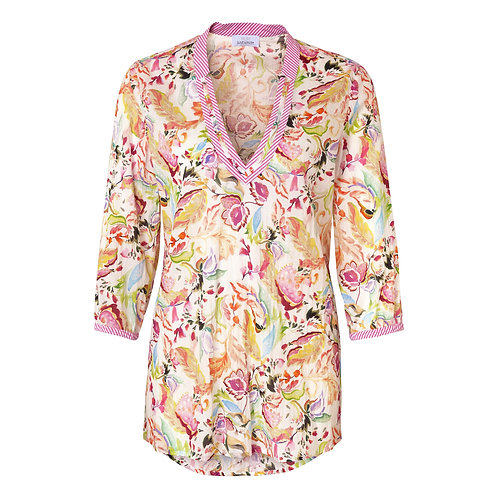 Just White Soft Pink Flower Print Tunic 42657