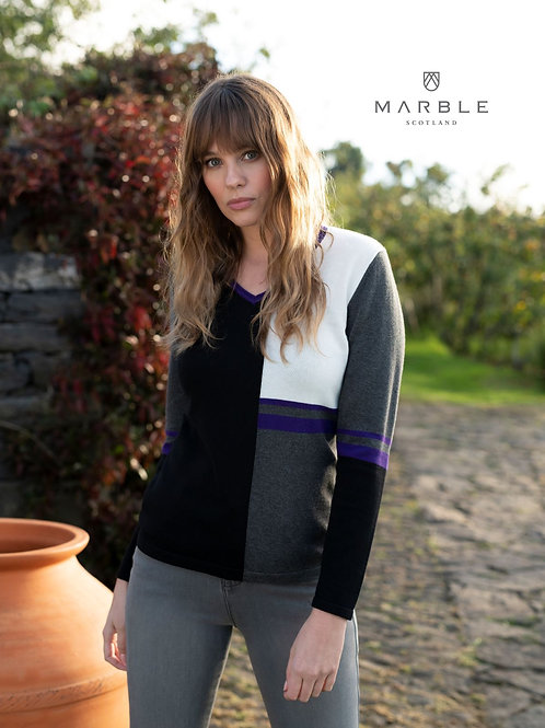 Marble V neck Jumper 5909