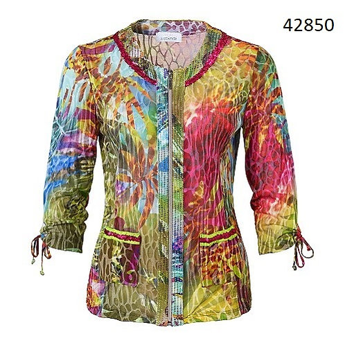 Just White Jungle Type Print Jacket/Cardigan 42850