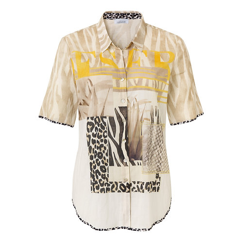 Just White Safari type Print Overshirt 42539