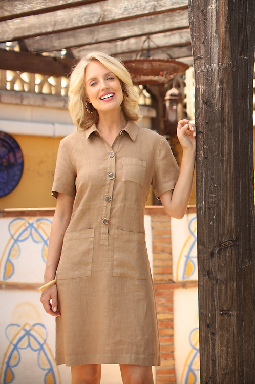 Pomodoro Linen Shift Dress 32007