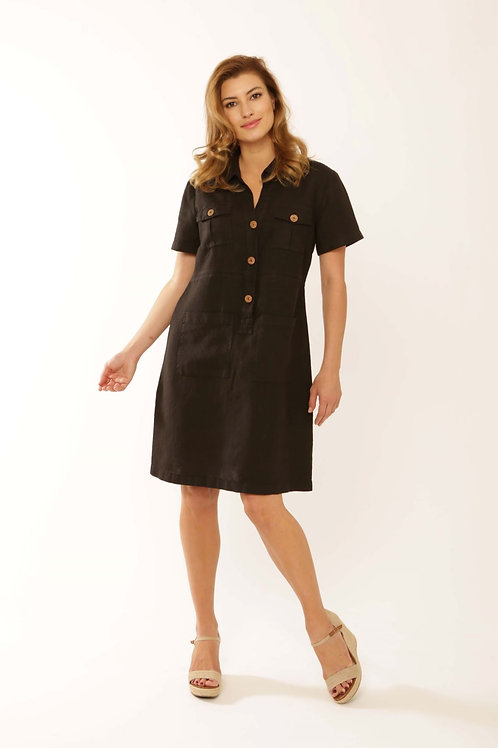 Pomodoro Black Linen Dress 32103