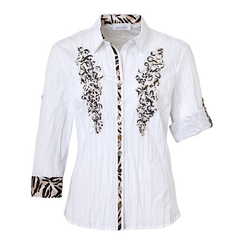 Just White blouse with front applique detail 42610