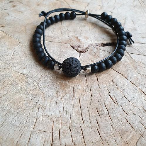 Zwart armbandje met leer | Semm's