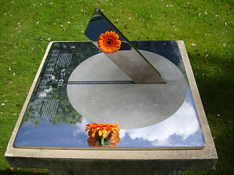 42 cm. stainless steel sundial in Surrey by Piers Nicholson