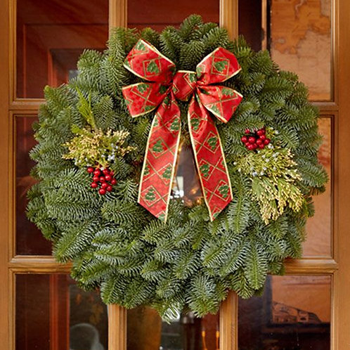 "22"" Mixed Evergreen Wreath for Shipping"