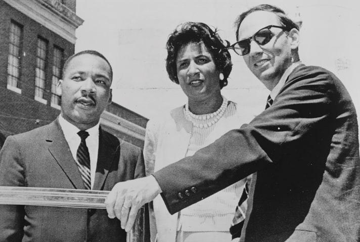 Constance Baker Motley first met Martin Luther King, Jr., in July 1962, after successfully arguing that protesters had the right to demonstrate in Albany, Georgia. Lawyer William Kuntsler is at right. Credit: Library of Congress, Prints and Photographs Division, NYWT&S Collection, LC-USZ62-138785.