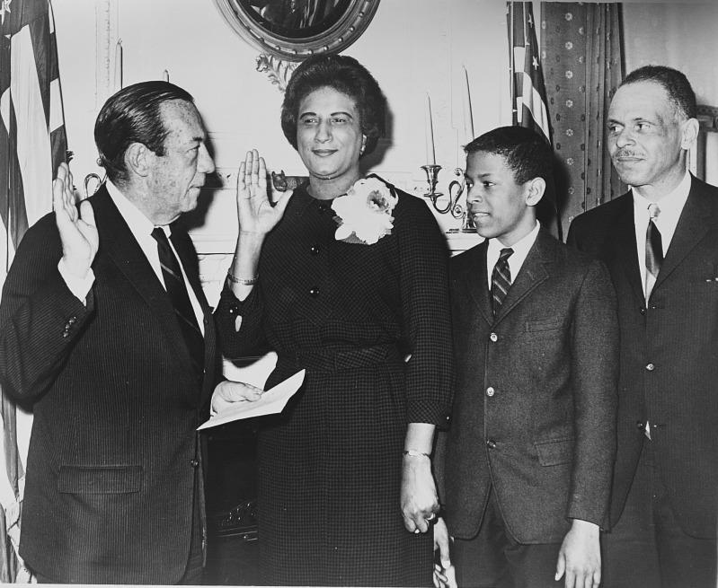 Mrs. Constance B. Motley being sworn in by Mayor Wagner