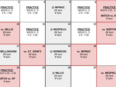 2021 Spring Volleyball Schedule