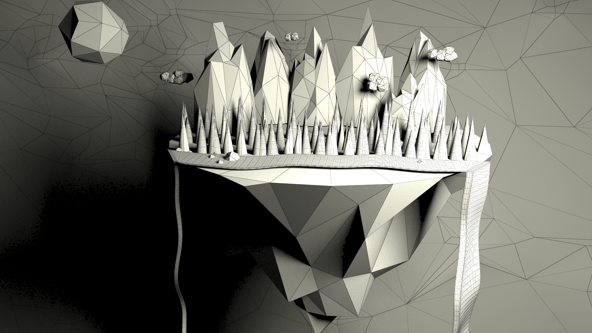 MOUNTAINS WIREFRAME ON SHADED