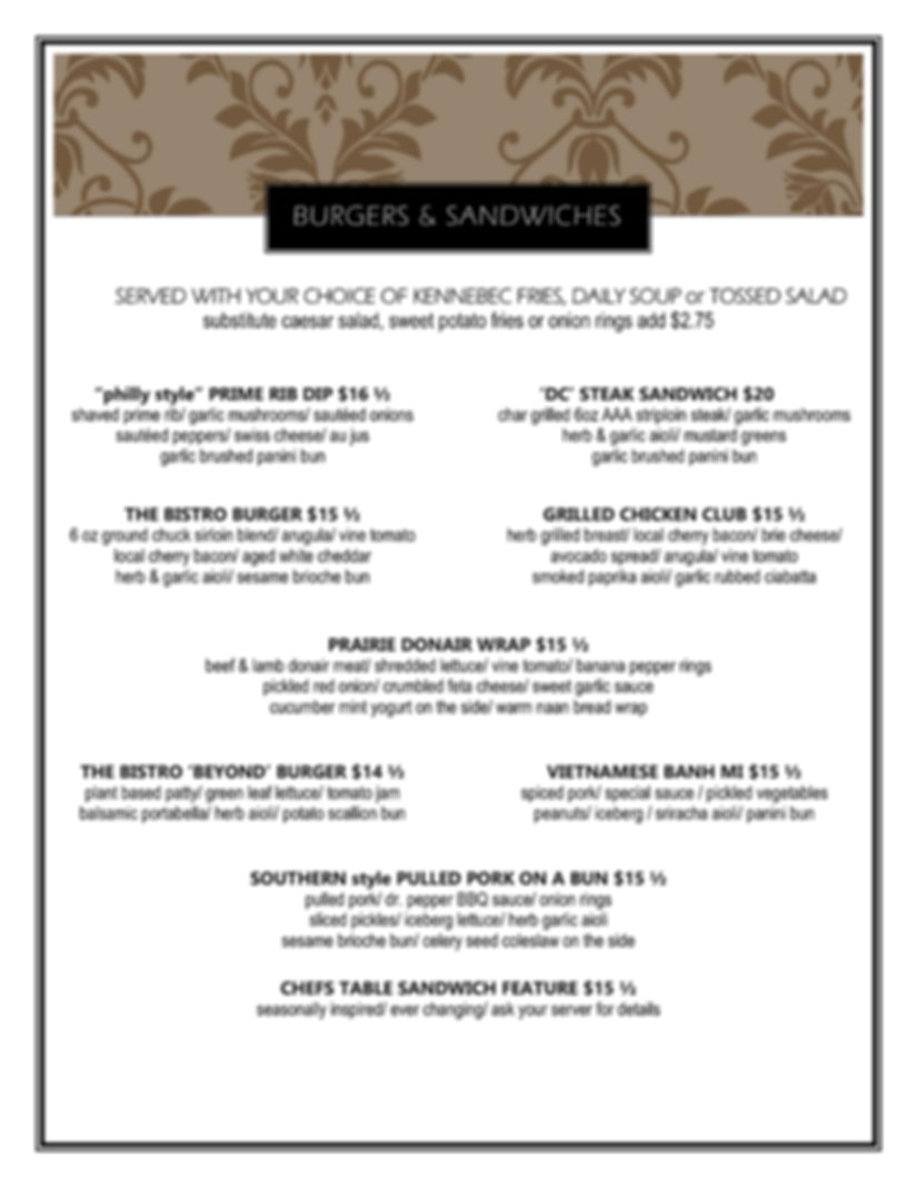 Burgers and Sandwiches winter 2019 2020-