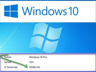 Windows 10 1511 Sürüm 10586-218 İş Derleme Sürüm Yükselmesi