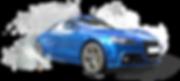 carro azul brilhante na poça