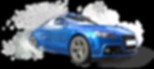 auto blu brillante in pozza