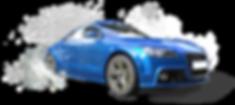 voiture bleu clair en flaque d'eau