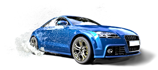 Lyse blå bil i vandpyt