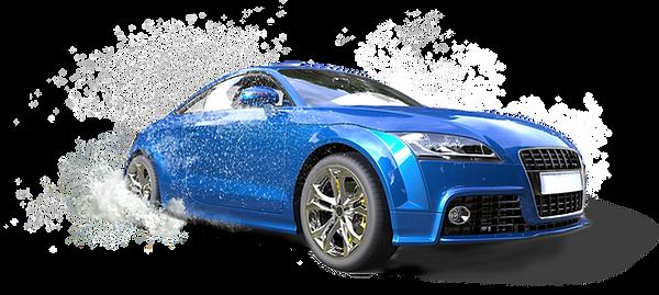 水たまりで明るい青色の車
