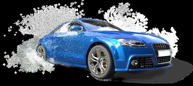 Helle blaues Auto in der Pfütze