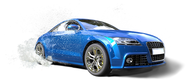 Bright blue car in puddle