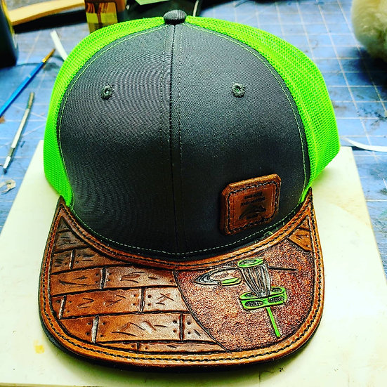 Leather Brim Patch Hat