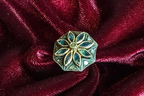Anello antico '800 a fiore in oro