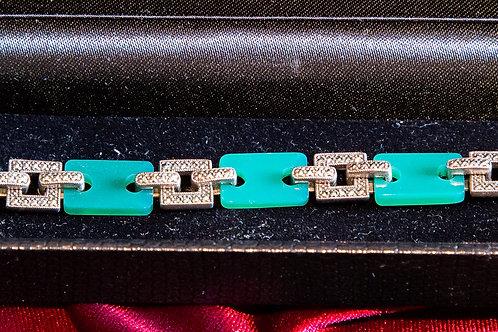 Bracciale in argento 925 con brillantini e pietre dure verdi