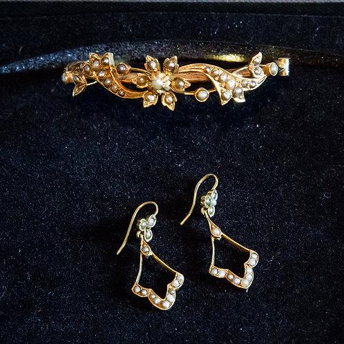 Parure antica '800 in oro giallo e perle