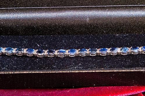 Bracciale tennis in argento 925 con radici di zaffiri