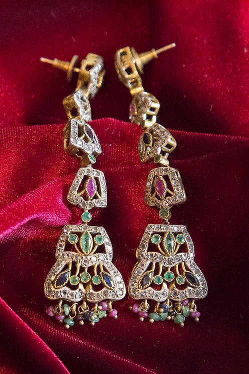 Orecchini indiani in argento dorato