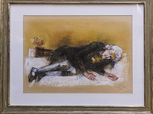 """Giovanni CAPPELLI """"Figura scura"""", pastello su carta, 1992,"""