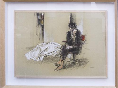 """Giovanni CAPPELLI, """"Uomo nella stanza"""", pastello su cartone, 1989,"""