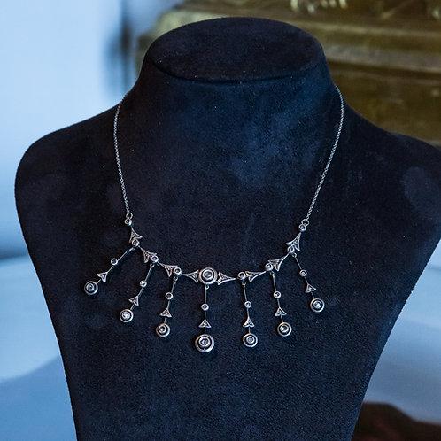 Collier antico in argento '800 con pendenti in diamanti
