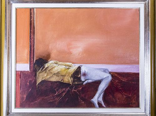 """Giovanni CAPPELLI, """"Figura su rosso"""", olio su tela, 1972"""