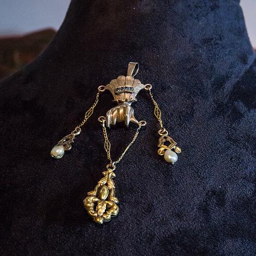Pendente portafortuna in oro antico '800