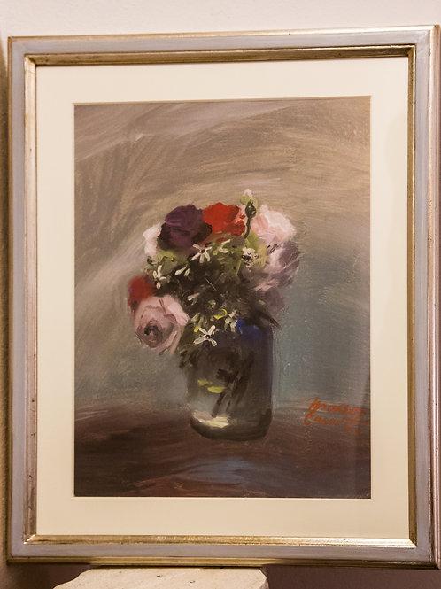 Maceo CASADEI (Forlì, 1899 – 1992)    Fiori, olio su cartoncino