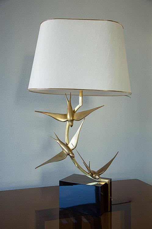 Lampada scultura in ottone con uccelli