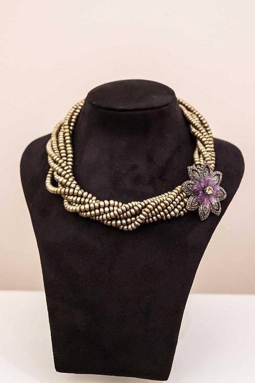 Collana multifilo perle di fiume con spilla di chiusura