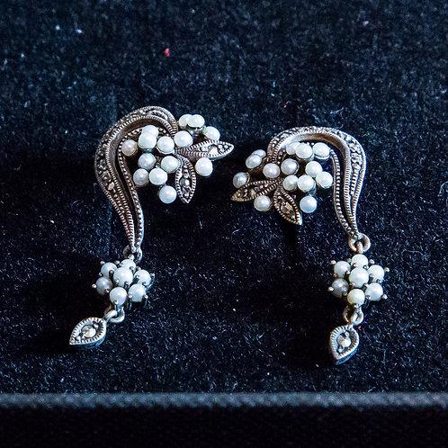 Parure bracciale e piccoli orecchini con perline in argento 820