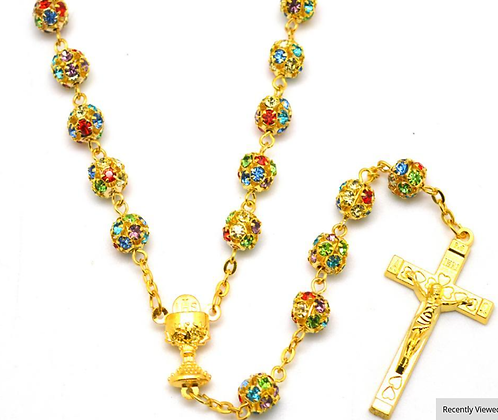 ROSARY -COLORFUL GOLDEN CASING
