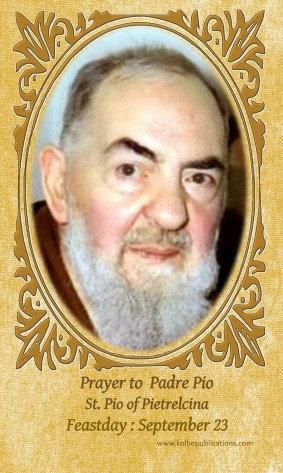 PRAYER CARD-Padre Pio